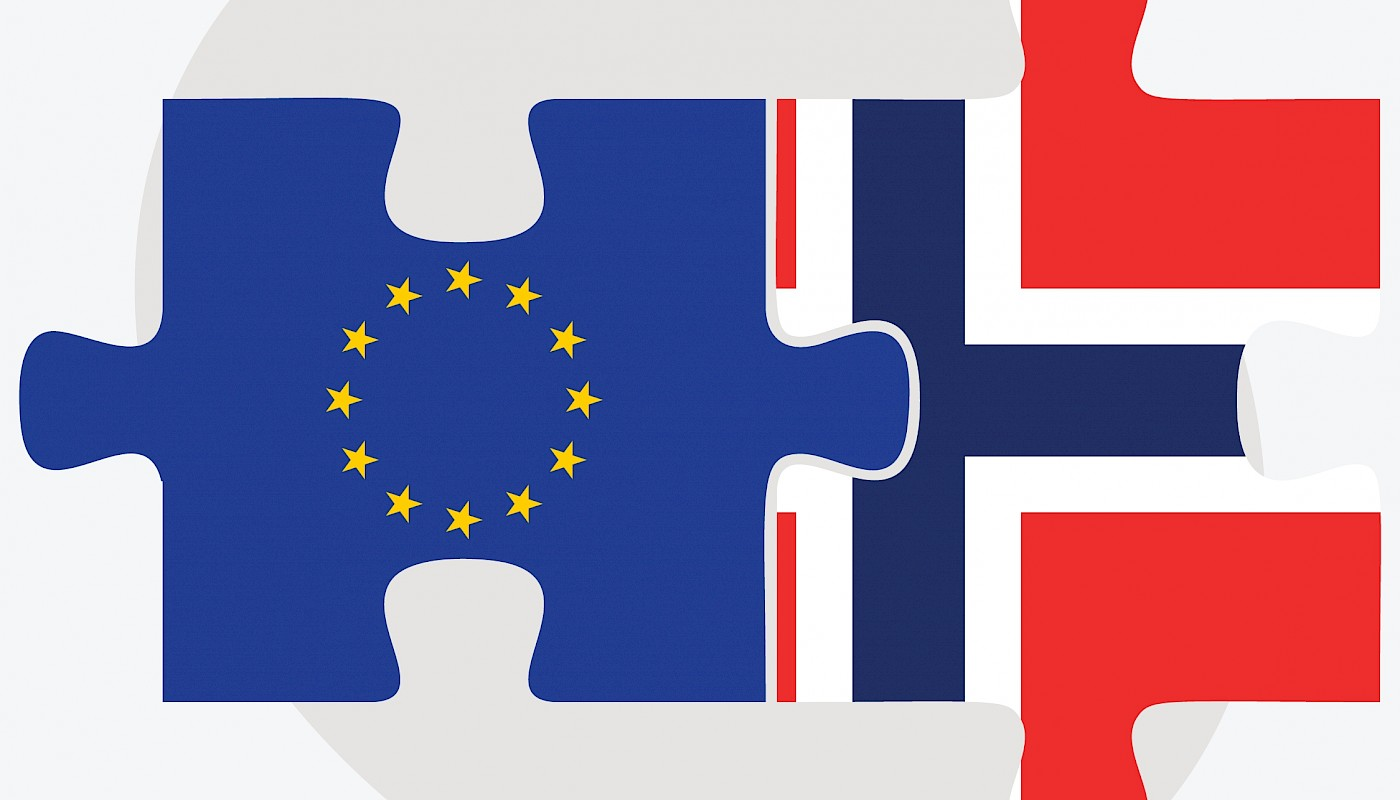 A picture, which shows the The EU flag and the Norwegian flag linked together as puzzle pieces